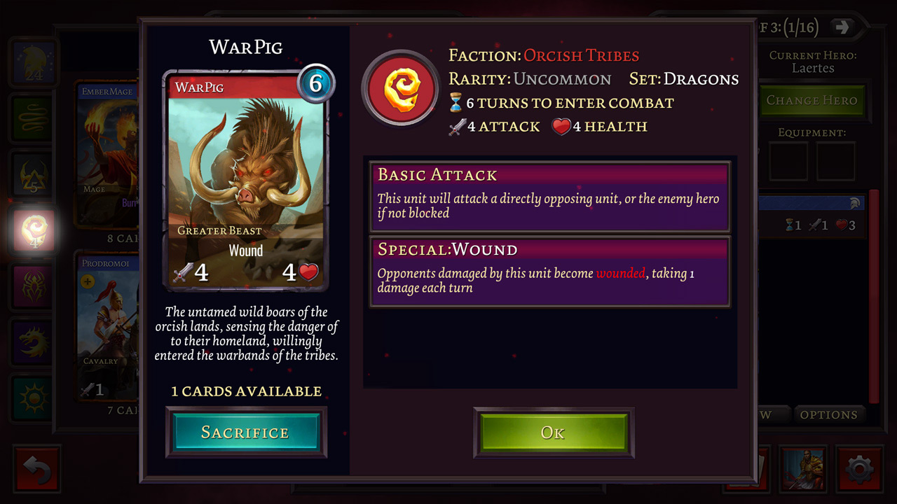 Storm Wars collectible card game - card preview